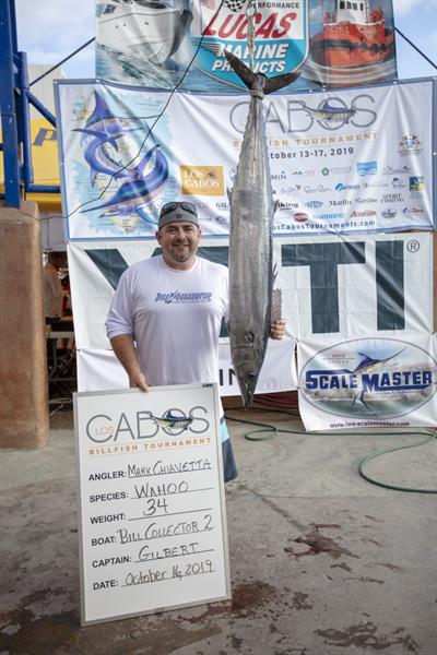 Image of a Wahoo caught by Mark Chiavetta on team Bill Collector 2 at the 2019 Los Cabos Billfish Tournament